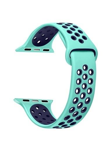 Microsonic Apple Watch Series 5 44mm Rainbow Sport Band Kordon Nil Yeşili Yeşil